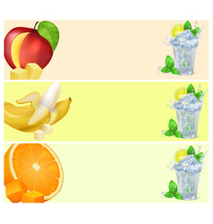 mojito glass and fruits isolated vector image vector image