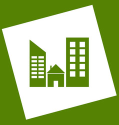 Real estate sign white icon obtained as a vector