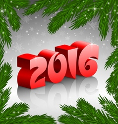 Red new year 2016 and x mas tree frame vector