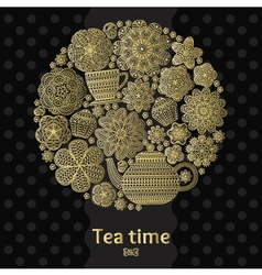 Romantic round background with teapot vector image vector image