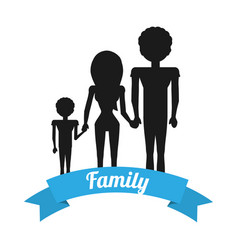 Silhouette family hands holding ribbon vector