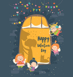 Stvalentine card with cupid and couple vector