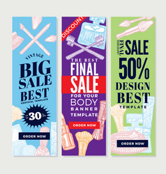 Vintage cosmetic promotional vertical banners vector
