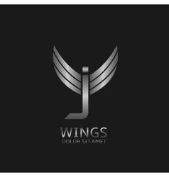 Wings J letter logo vector image vector image