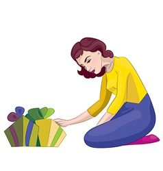 Women with gifts vector