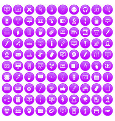 100 webdesign icons set purple vector