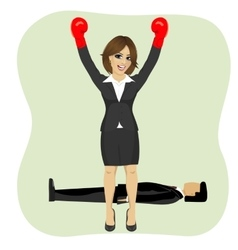 Business woman cheering wearing boxing gloves vector