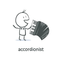 Cartoon man accordionist vector image