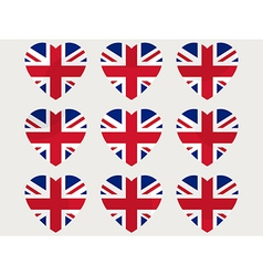 Hearts with the UK flag England flag icon set vector image