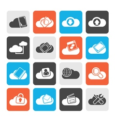Silhouette cloud services and objects icons vector image