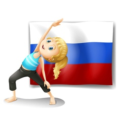 A girl with the flag of the russian federation vector