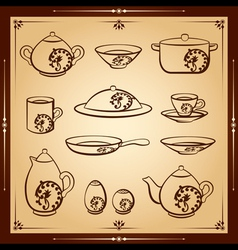 Kitchen icon set vector