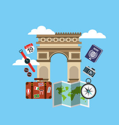 Arch of triumph travel icons vector