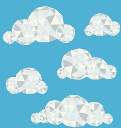 Polygonal clouds in summer sky vector