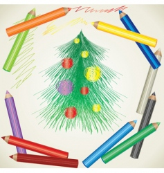 Christmas tree and color pencils vector image