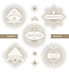 Set of line heraldic emblems with sunburst vector