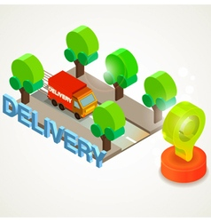Flat 3d isometric express delivery services vector