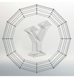 Letter y fonts of mesh vector
