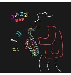 Neon sign saxophone jazz vector