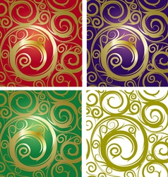 seamless with gold ornament vector image