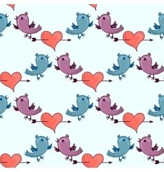 Pattern with two birds and heart broken stele vector