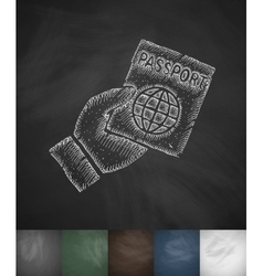 Passport icon hand drawn vector