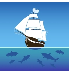 Sailing ship surrounded by sharks in the sea vector