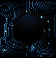 Abstract blue circuit board on dark background vector image