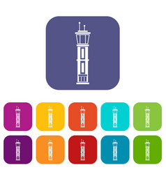Airport control tower icons set vector