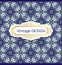 Antique vintage background azulejos in portuguese vector