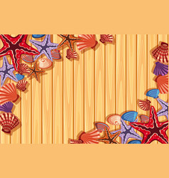 Background template with starfish and shells vector