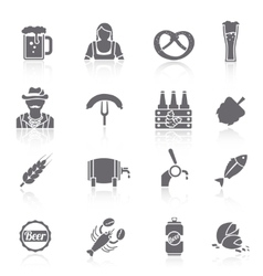 Beer icons set black vector image vector image
