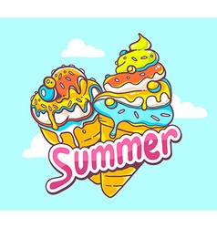Bright two ice creams on blue background vector