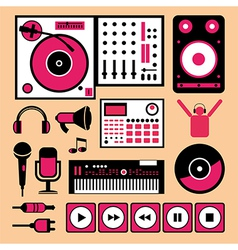 Colorful dj music set vector image