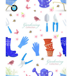 cozy seamless texture with gardening tools and vector image vector image