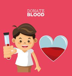 Donate blood boy test tube vector