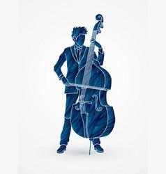 double bass player a man play double bass vector image vector image