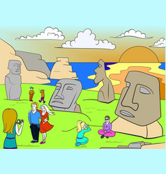 Easter island excursions color vector
