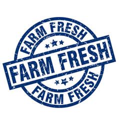 Farm fresh blue round grunge stamp vector