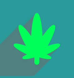 flat web icon with long shadow cannabis vector image vector image