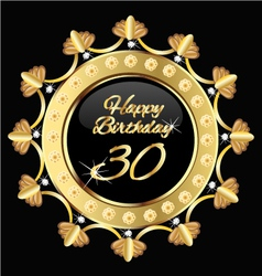 Happy 30 years birthday gold design vector
