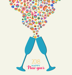 happy new year 2018 colrful party toast splash vector image vector image