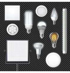 Led lamps realistic transparent set vector