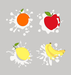 lemon orange apple vector image