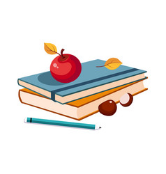 Notebooks apple and pencil set of school and vector