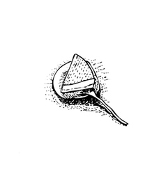 Piece of cake on dish with spoon sketch vector