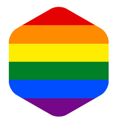Rainbow flag in hexagon shape vector