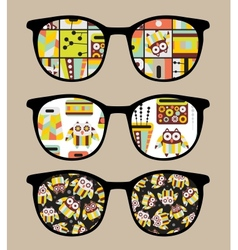 Retro sunglasses with cute owls reflection in it vector image