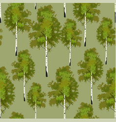 Seamless pattern birch tree in springtime vector