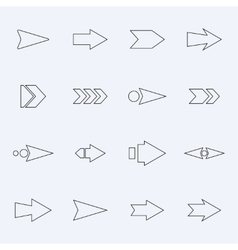 Set hollow arrows on a light background vector